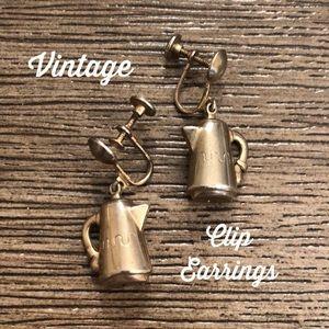 Vintage Dangle Coffee Pot Clip Earrings Creamer